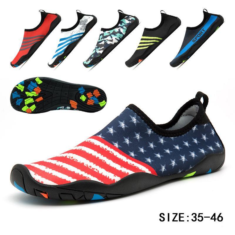 2019 новая летняя водная обувь для женщин большой плюс размер Aqua Beach Shoes Woman Striped Colorful Sea Swimming Shoes zapatos de mujer Y200420