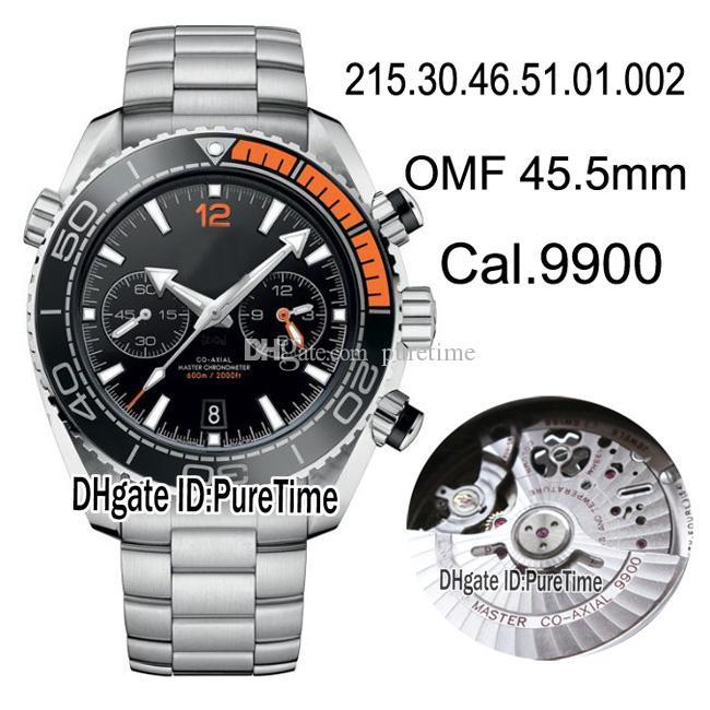 OMF 215.30.46.51.01.002 Planet Ocean Black LiquidMetal Lunette en céramique Orange A9900 Chronographe automatique Montre Homme Montres Acier OM03