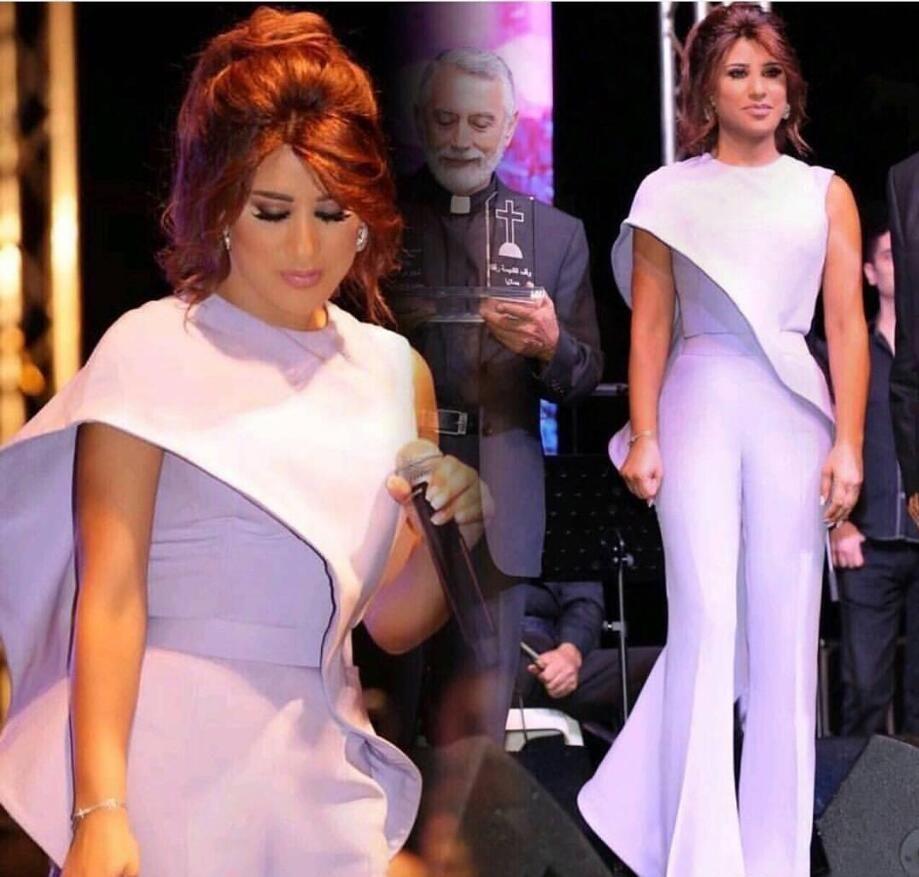 Lavanda Jumpsuit Mulheres árabes Prom Vestidos 2019 mais novo Jewel Neck Plus Size Formal Wear Partido barato Bainha Ruffled celebridade Vestidos
