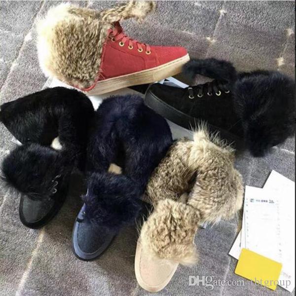 Designer en cuir suède bottes d'hiver de fourrure de lapin chaussures plates pour les femmes Australie bottillons bottes de neige haut de hautes bottes de fourrure de luxe espadrille