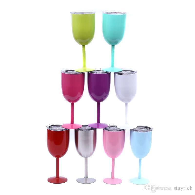 ¡9 colores en stock! Copa de vino tinto de acero de 10 oz copa de vino tinto con tapas de colores sólidos taza de bricolaje
