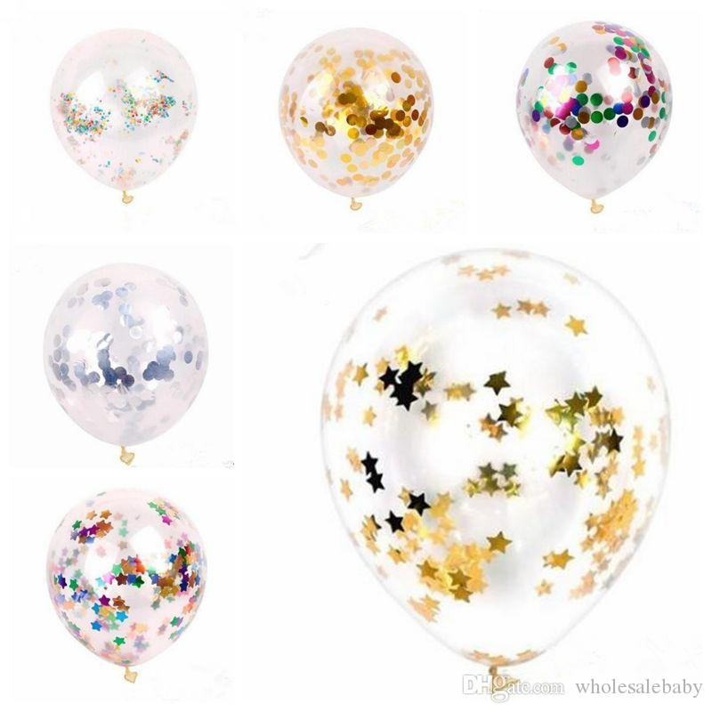 Confetti Balloons Sequins Multicolor Latex Filled Clear Balloon Novelty Kids Toys Fashion Birthday Party Wedding Decorations TLZYQ626