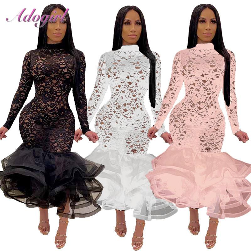 Sexy Floral Organza Sheer Vestido de malha Lace Ruffle Evening Partido Patchwork 2020 Casual manga comprida Mock pescoço sereia Vestidos Clube