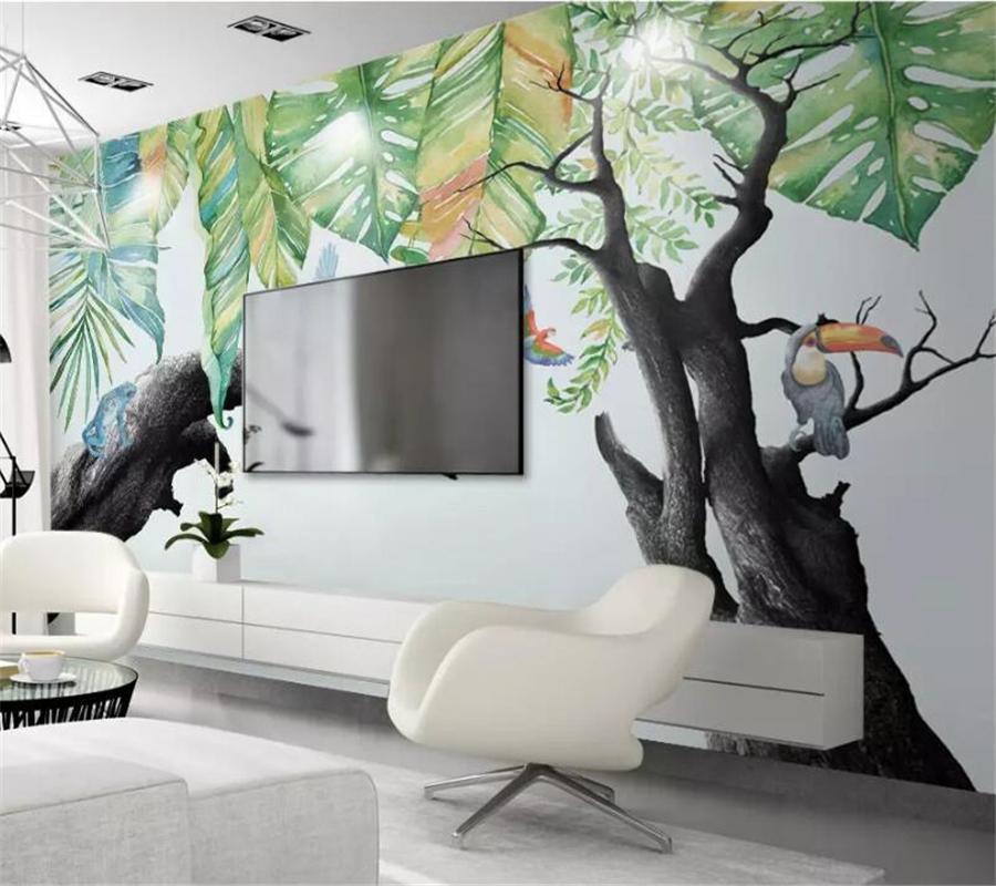 Photo faite sur commande Fond d'écran 3d Murales restaurant de forêt tropicale humide Plante Arbre Sec fond mur papier papel de papier peint parede