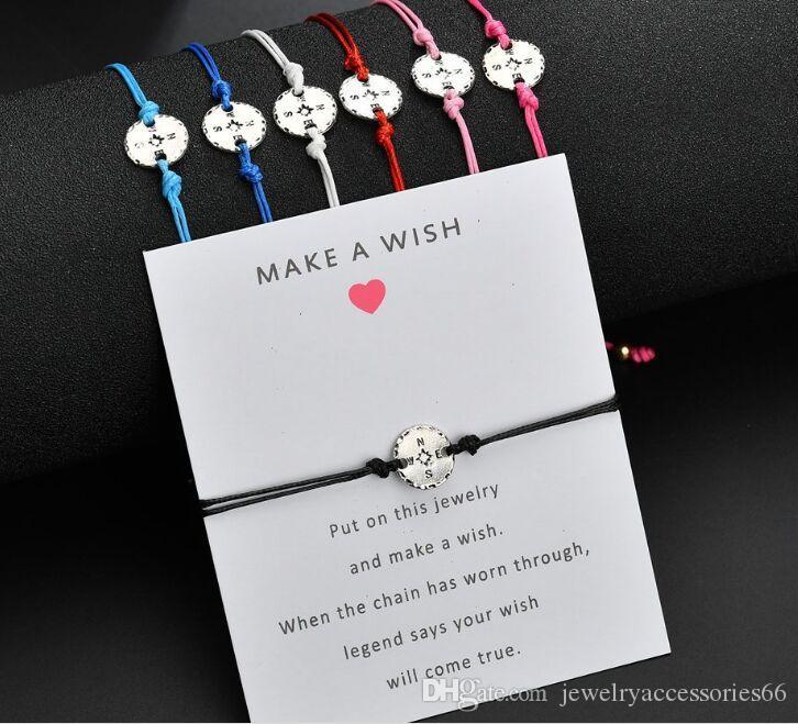 2019 NEW Make A Wish card adjustable bracelet compass charms pendant romantic 7 colors rope chain Bracelet women