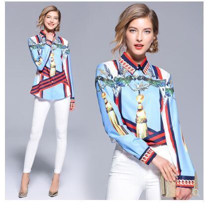 design européen de la mode 2020 nouveau collier baissez l'impression couleur bleu femmes chemise blouse manches longues MLXLXXL