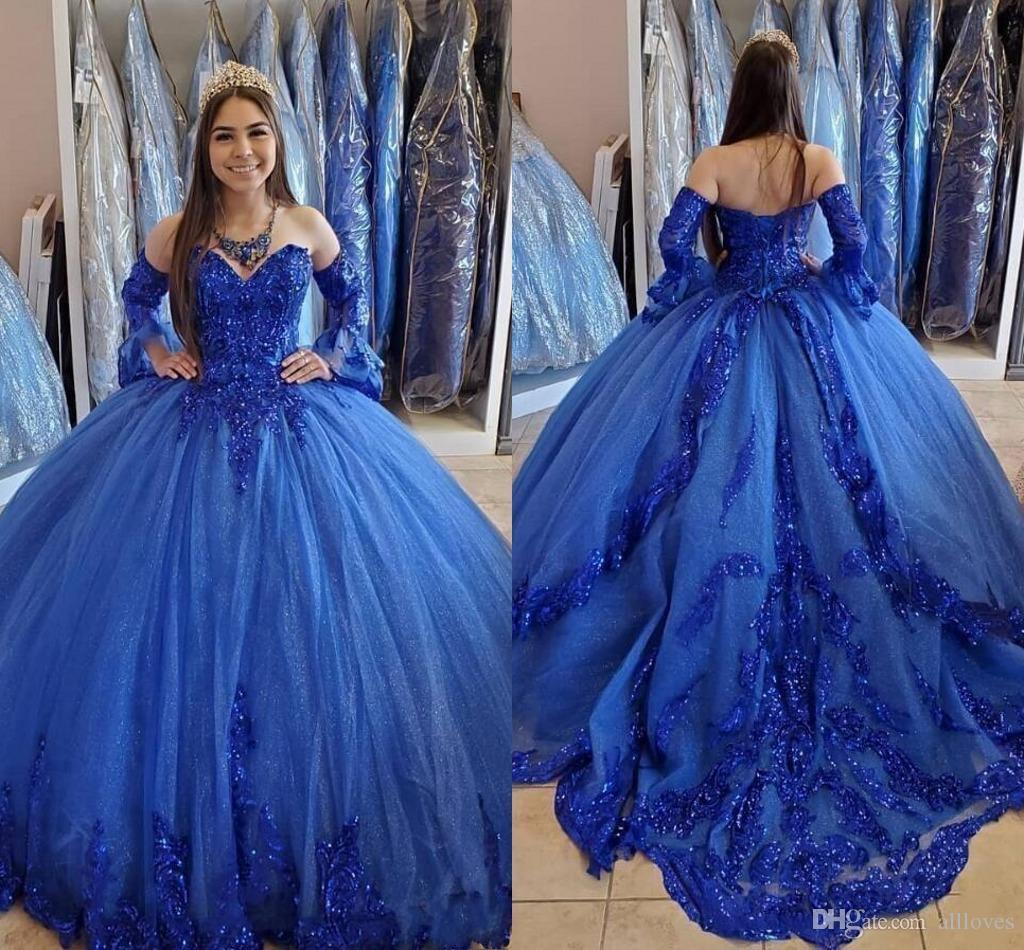 Vintage Royal Blue Princess Quinceanera Ball Ball Ball Balls 2020 Sweetheart encaje apliques con cuentas de manga larga de manga formal vestidos de baile de baile al5101