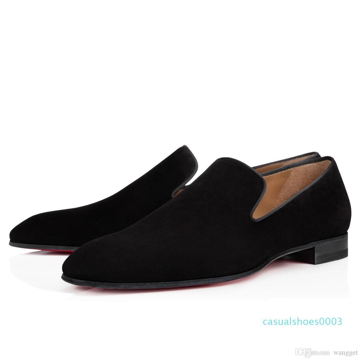 Marque Red Bottom Mocassins Luxury Party Chaussures de mariage Designer cuir verni noir Chaussures Robe Suede pour Slip Mens Flats C03