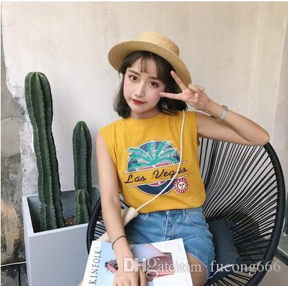 Freies Verschiffen 03 Mode 2018 Sommer neue Frauen koreanische Version des einfachen wilden ärmellosen Hemd lose dünne Rundhals Weste
