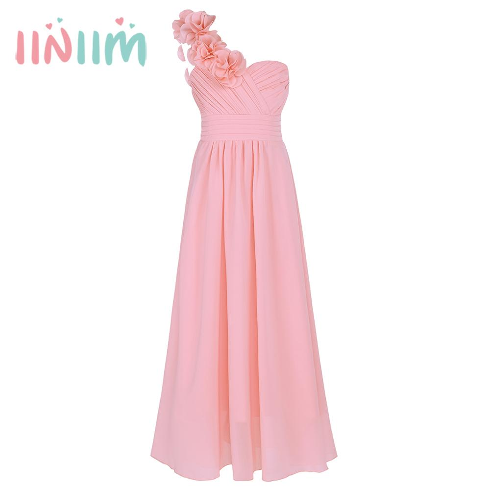 Kids Girls Chiffon One Shoulder Flower Girl Dress for Wedding Prom Gown Dresses