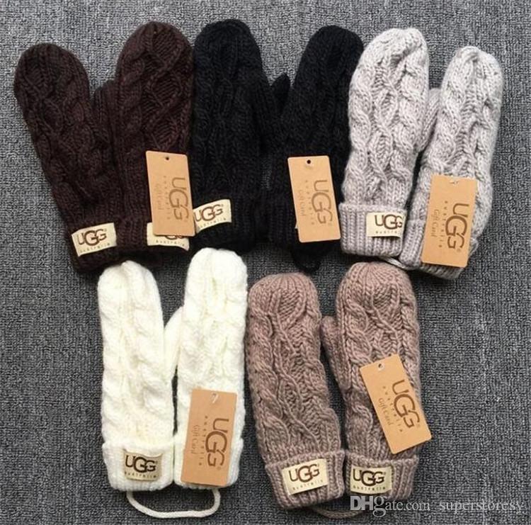Damen Winter Warmer Strickhandschuhe neue Art und Weise Fäustlinge Solid Color Striped Jacquard Kälte-proof Handschuhe mit Seil