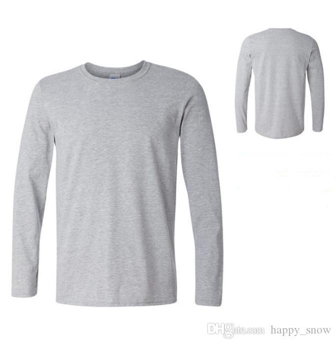 Camisetas para niños Color puro en blanco Camiseta para hombre Camisa de manga larga Para hombres Diseño de moda Algodón 100% ALGODÓN Camisa Hombre Tops
