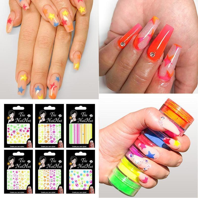 Floresan Pentagram Glitter Sticker Yeni Kadınlar Moda Nail Art Manikür Dekorasyon Tırnak Paketi