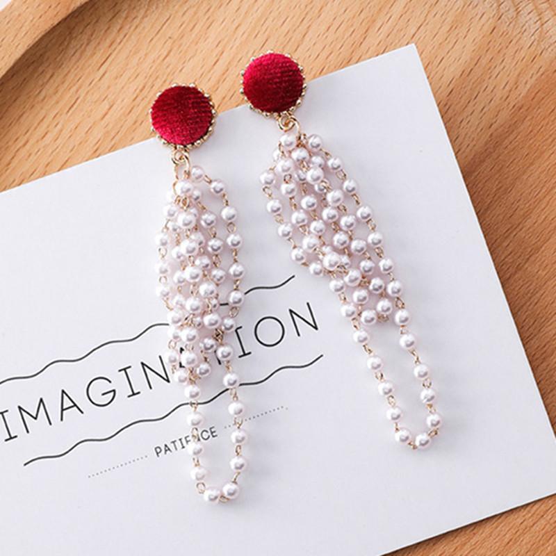 Nouveau bouton de velours élégant longues perles perles Tassel Boucles d'oreilles pour les femmes bijoux à la mode Déclaration Dangle Boucles d'oreilles 6G2011