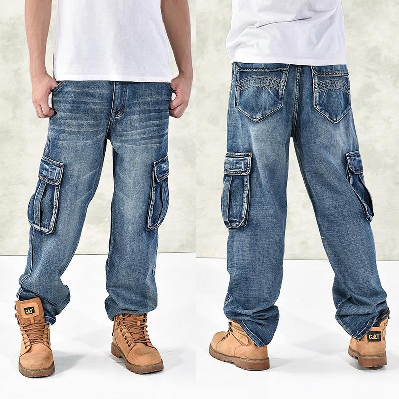 HOT Nuevo 2019 Tamaño grande 30-44 46 Jeans Moda Bolsillos grandes sueltos Hip-Hop Skateboard Casual Hombres Denim Blue Black Design Brand T190913