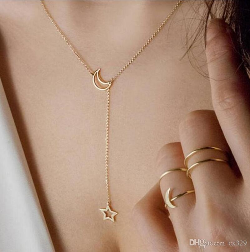 Net kırmızı gelgit moda ay yıldız kolye kolye kadın kolye zinciri vahşi kişilik aksesuarları basit klavikula zinciri