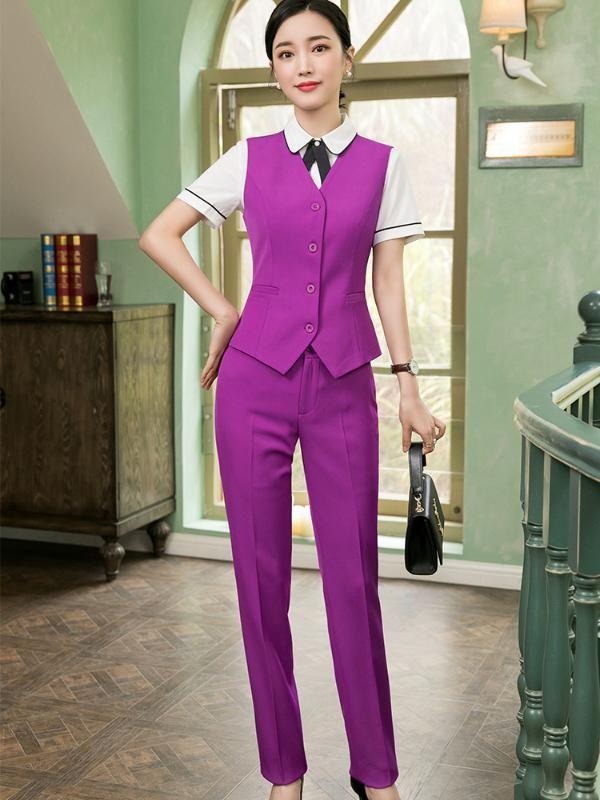 2 piece set donne di alta qualità formale Viola Suit Pant Office Lady uniforme Design Slim Affari Vest e mutanda di usura Work