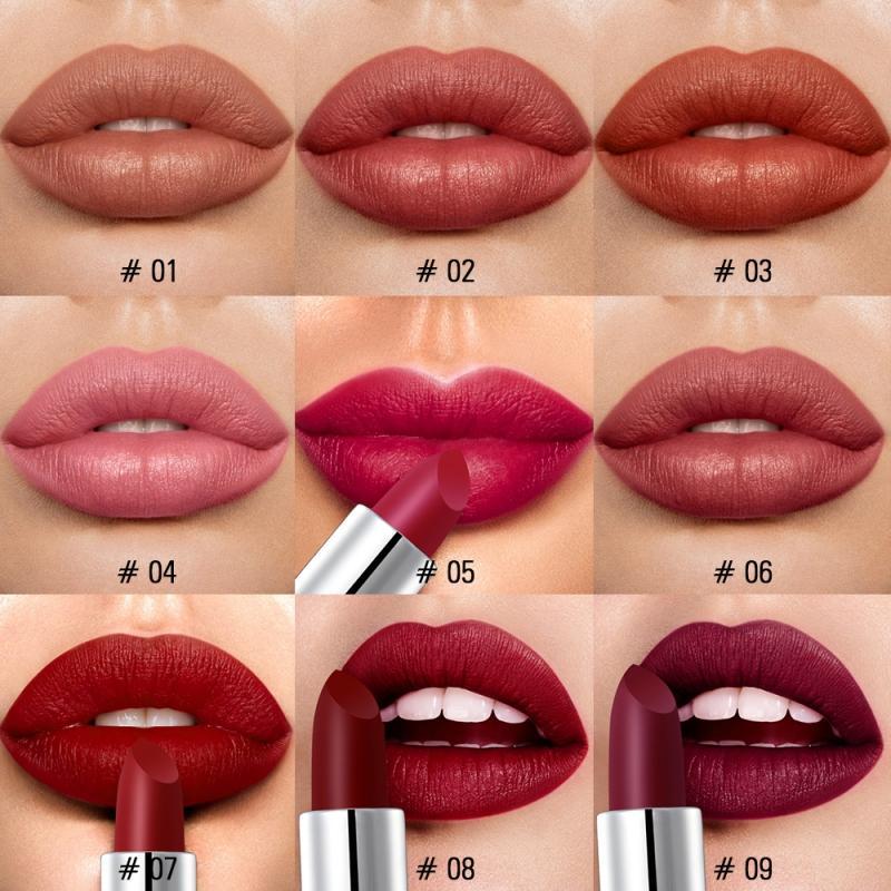 Sexy 9 Colors Silky Matte Lipstick Makeup Waterproof Pigmented Lip Stick Long-lasting Lips Make Up Cosmetics Pro