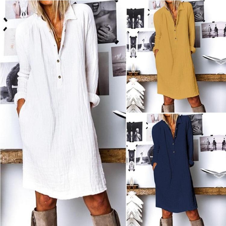 La primavera e l'estate 2020 nuova canapa cotone di modo di svago delle donne vestito solido del manicotto lunga gonna corta