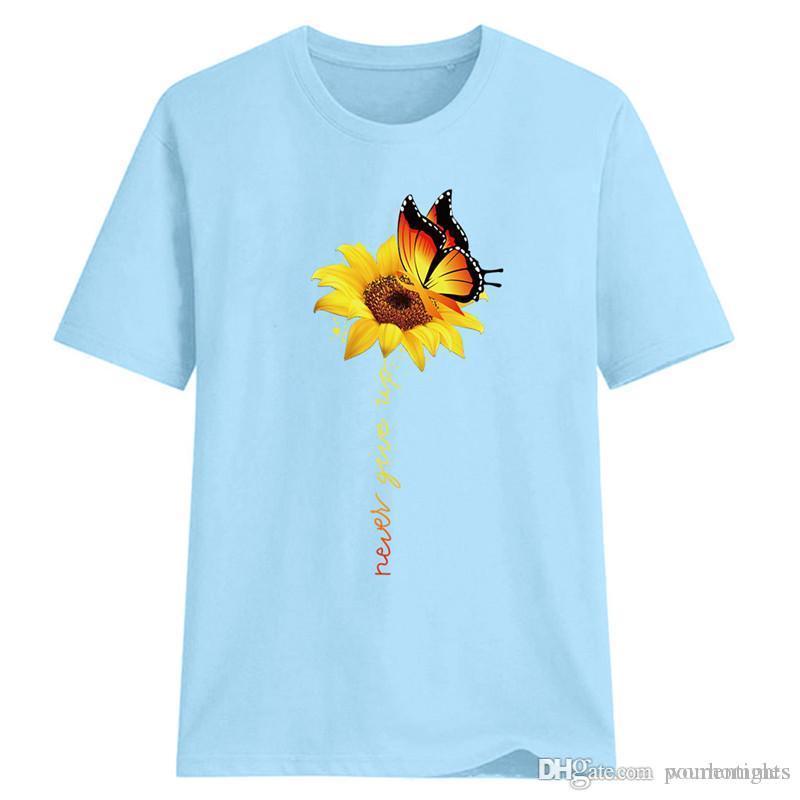 Girasol Y Mariposa Imprimir mujeres ocasionales de diseño en las camisetas de moda frescas de manga corta para mujer dulce ropa del verano