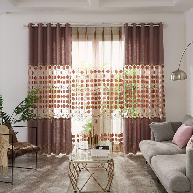 Nouveau style chinois haut de gamme Nordic Light Broderie Rideaux pour Salle à manger Chambre Chambre.