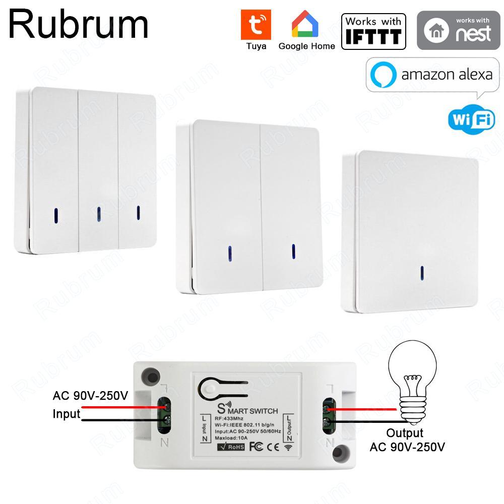 Home Automation Module Rubrum RF 433 AC 220 V Receiver Startseite Wifi drahtlose Fernbedienung Smart Switch Smart-Life / Tuya APP Works