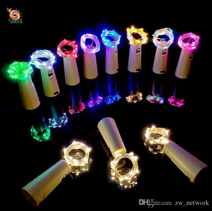 2 متر 20led سلسلة أضواء الفلين شكل زجاجة سدادة زجاج زجاجة النبيذ الفلين مع الصمام مصباح الأسلاك النحاسية سلسلة الأنوار لحفل زفاف عيد