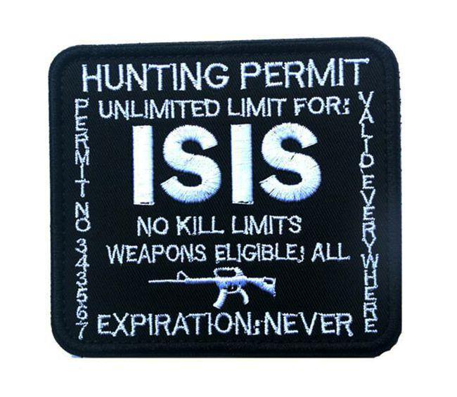 VP-48 Hunting Permit ISIS bordados Patches externas táticos Patches 3D de combate emblema tecido Bandeiras nacionais Armband Badges com vara em