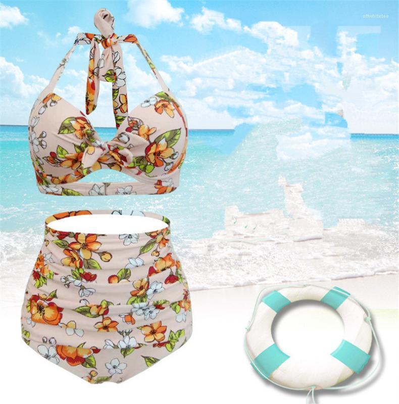 مصمم الأزياء الصيف البيكينيات مثير عارية الذراعين ثوب السباحة بالاضافة الى حجم الإناث عارضة ملابس الزهور 2PCS المرأة