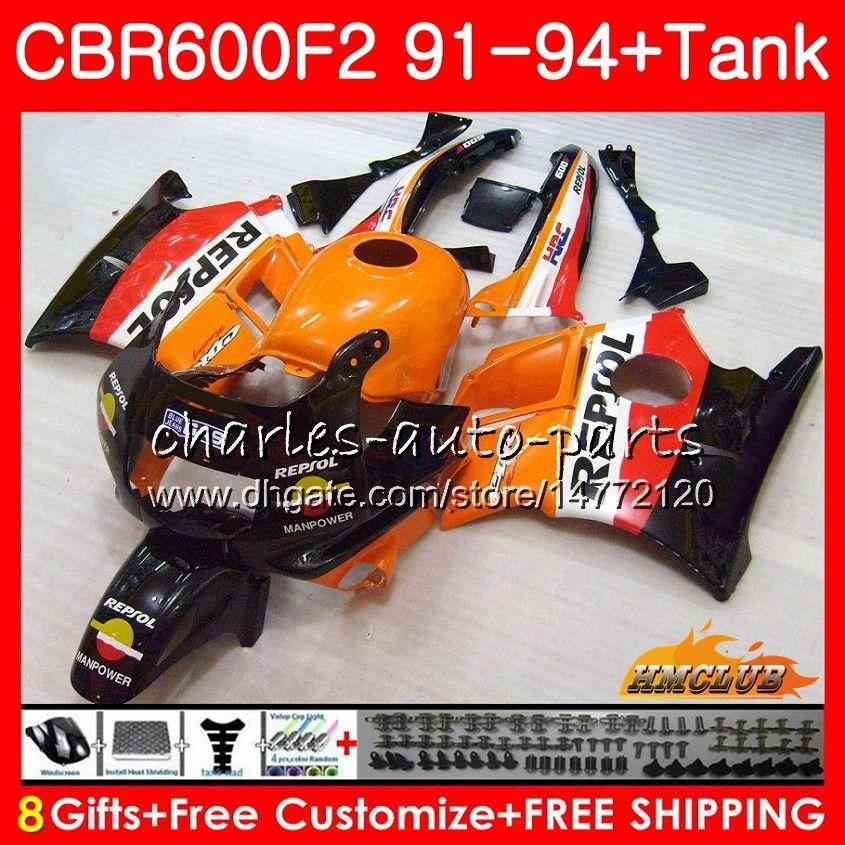 Body +Tank For HONDA CBR 600F2 Repsol orange CBR600FS CBR 600 FS F2 91 92 93 94 40HC.29 600CC CBR600 F2 CBR600F2 1991 1992 1993 1994 Fairing
