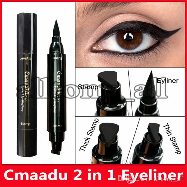 2019 CMAADU double tête noire Joint Traceur liquide Crayon Maquillage rapide Eye Liner Wing étanche Dry Stamp Pen Cat Eyes Make Up Outils