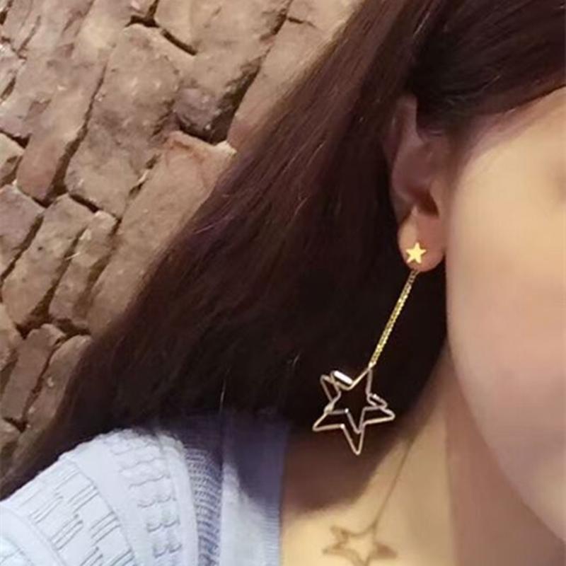 E0314 Moda Prata Cor de Ouro Estrela Oco Estrela Assimétrica Brincos Longa Borla Brincos Pendurados Para As Mulheres Meninas Melhores Presentes