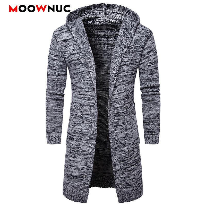 Cardigan maschile Cappello Casual chic shirt Moda Autunno Slim che basa Homme Cardigan Uomini Modish solido Maglione MOOWNUC MWC