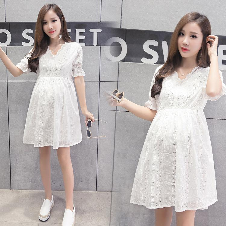 Envsoll Summer Embroidery Lace Maternity Dress Pregnancy Clothes For Pregnant Woman Q190521