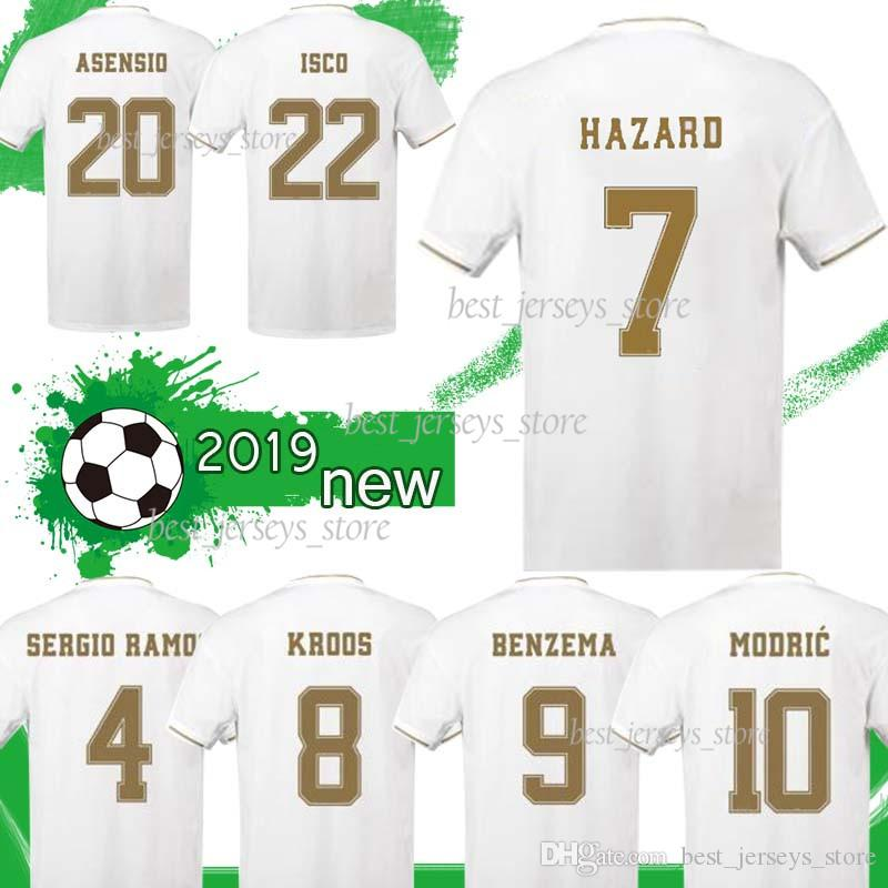 12 MARCELO 7 RISQUES 2020 Real Madrid Soccer Jersey Accueil Blanc 19/20 # 9 BENZEMA football shirt 11 uniformes BALE football chemises