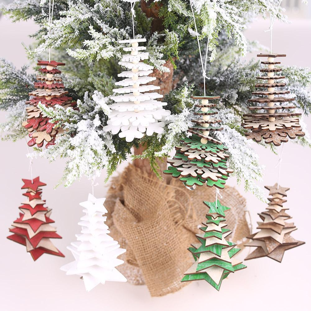 크리스마스 DIY 나무 오각형 장식 크리스마스 트리 눈송이 모양의 펜던트 장식 휴일 파티 크리스마스 장식 도매
