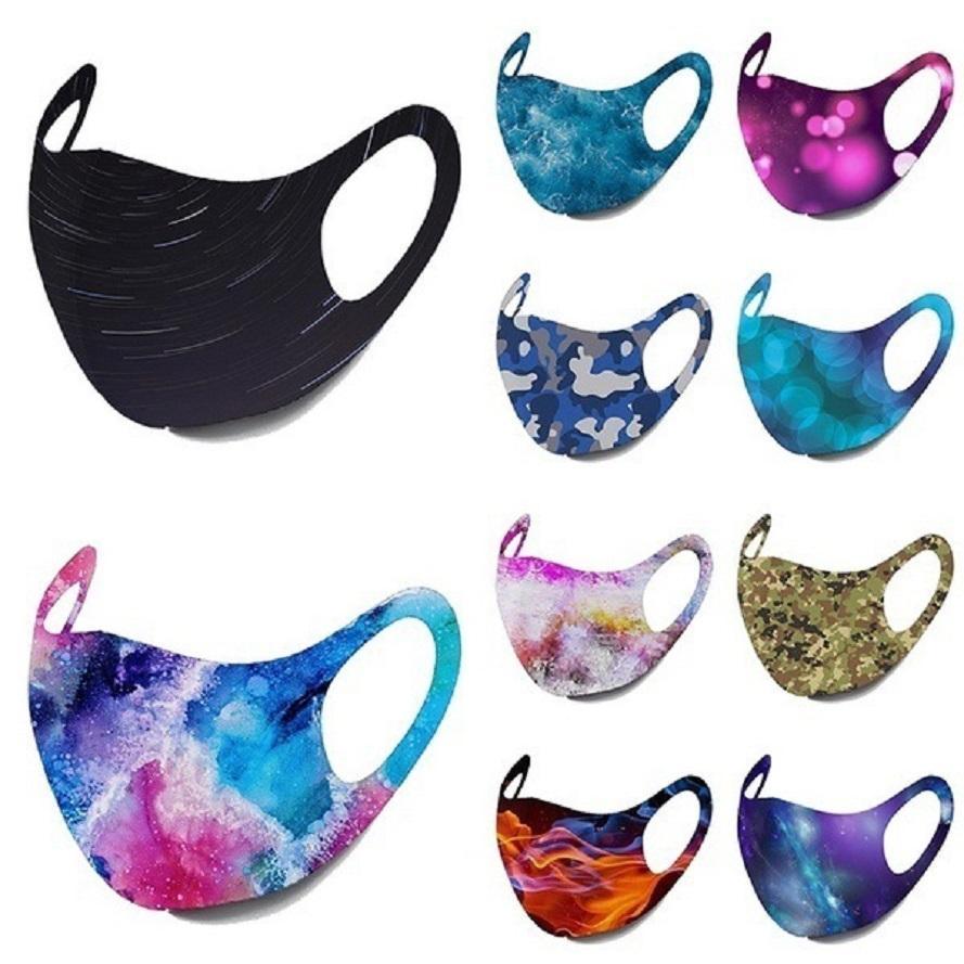 diseñador de moda cara máscara desechable mascarillas adulto cielo estrellado de la llama estampado camuflaje máscaras oreja colgantes máscaras contra el polvo