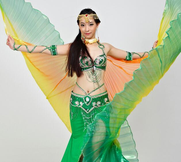 Belly colorido Big Dance Isis Asas Costume Props Com Vara 3M * 360 Ângulo Adulto Bellydancer Desempenho Props frete grátis