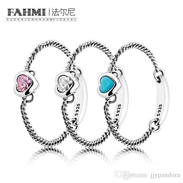 FAHMI 100% 925 Anillo de plata esterlina CHIRITED HEART BLUE SPIRITED HEART PINK SPIRITED HEART