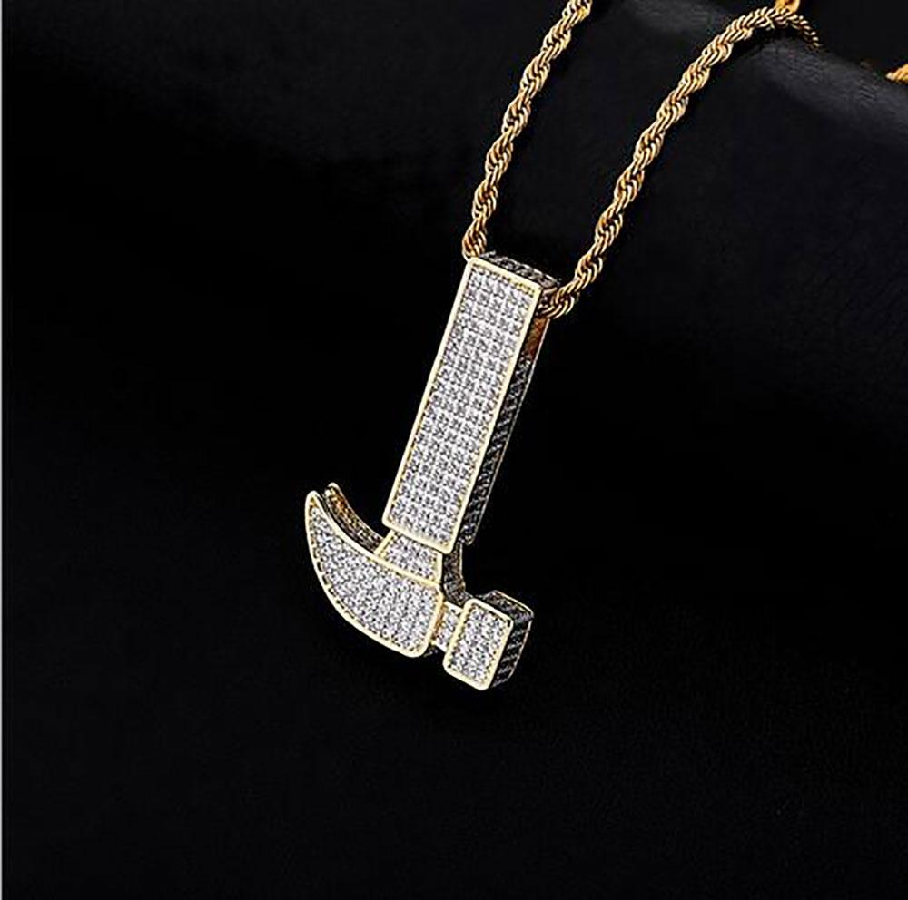 Iced Out Hammer Pendant Necklace Bling Micro Pave Cubic Zirconia Simulated Diamonds with 3mm 24inch cuban Chain