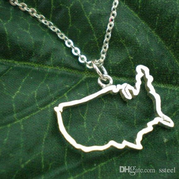 10 stücke hohl Vereinigten Staaten Karte Halskette USA Silhouette Karte Halskette Geometrische Amerika Land Nation Halskette für erdkarte schmuck