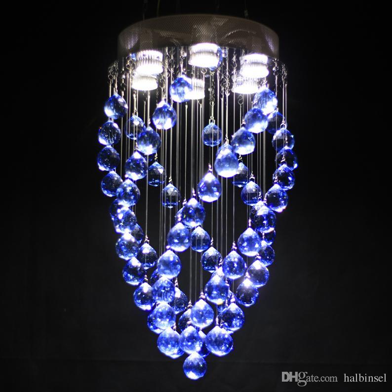 Lustre de cristal Cristal azul Rotating crystal Big bola diameter12.6 em altura 23.6in 6 a lâmpada