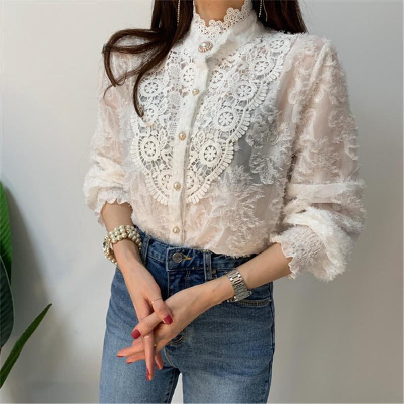 Designer Lace Women Transparent Party Blouse 2020 Summer Autumn High Street Fashion Stand Collar Long Sleeved Patchwork Shirts Tops