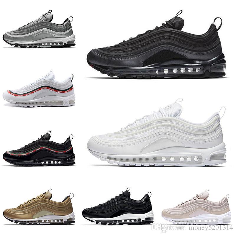 Nike Air Max 97 airmax chaussures de course pour hommes, femmes blanches noires triple Silver Bullet Hommes onglet pull rouge LEOPARD trainer baskets de sport respirant runner