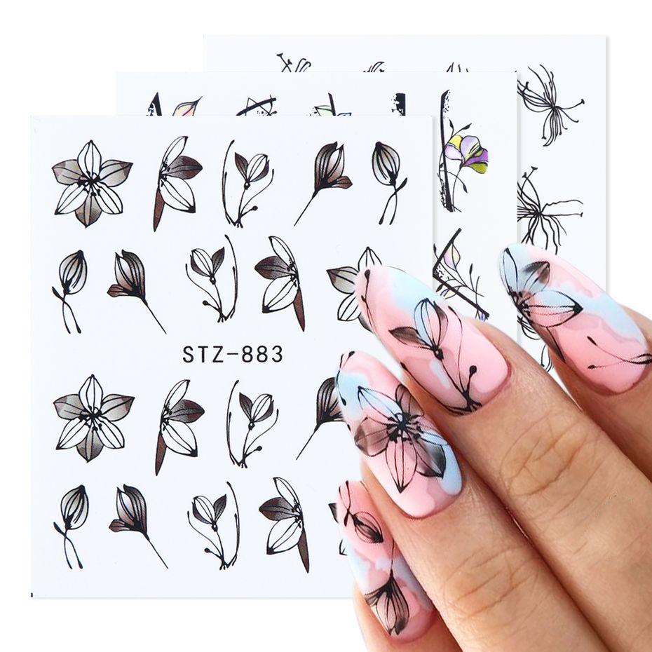 1pcs nero floreale trasferimento Nail acqua decalcomanie degli autoadesivi Fiori Foglie Tatuaggi nail art manicure Sliders