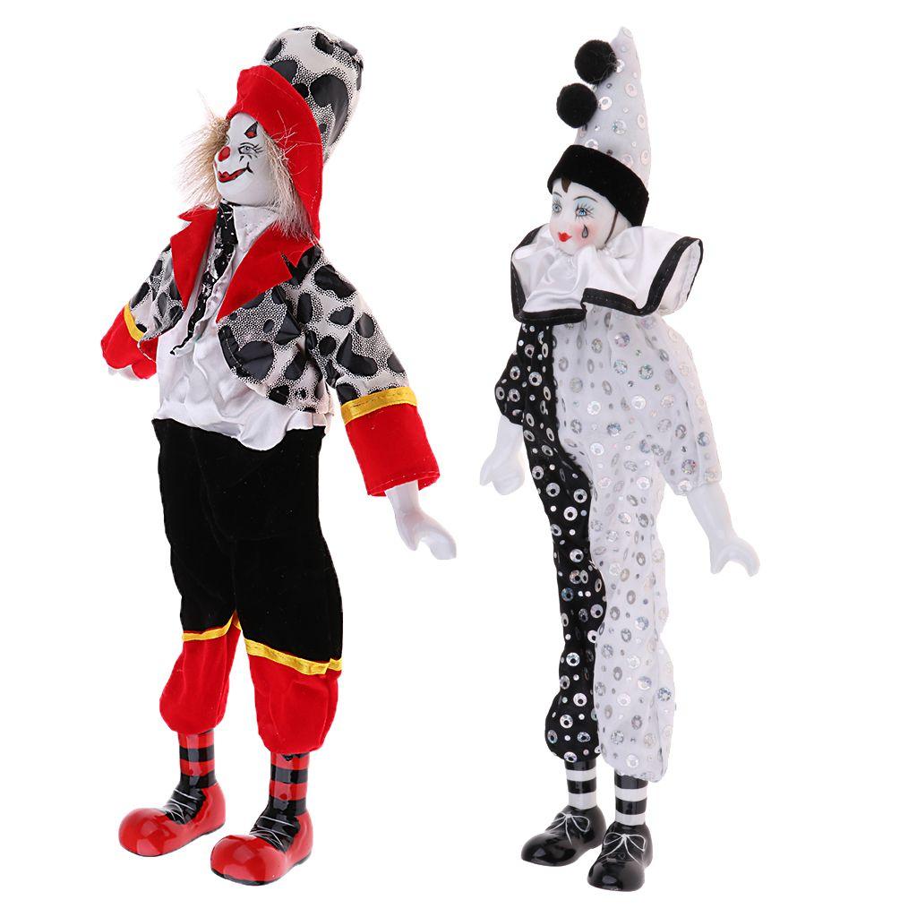 2pcs 15inch Porcelaine Sourire Teardrop Clown Doll Porter Tenues Uniforme, drôle Harlequin Doll, Props cirque, Décor Halloween