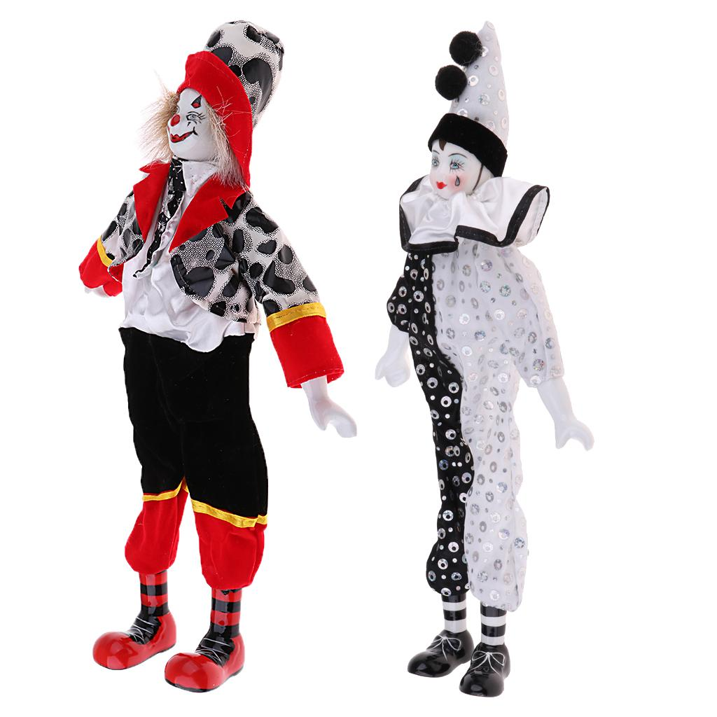 2pcs 15inch Porcelain Smiling & Teardrop Clown Doll Wearing Uniform Outfits, Funny Harlequin Doll, Circus Props, Halloween Decor