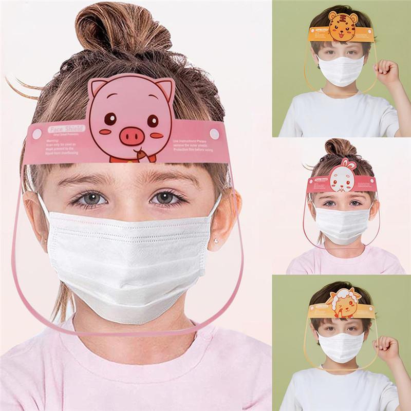 أطفال كارتون الأطفال شفاف مواجهة الدرع الأطفال الاطفال مكافحة قطرات قناع درع قبعة دلو الوجه واقية كاب لطيف الكرتون المضادة للضباب