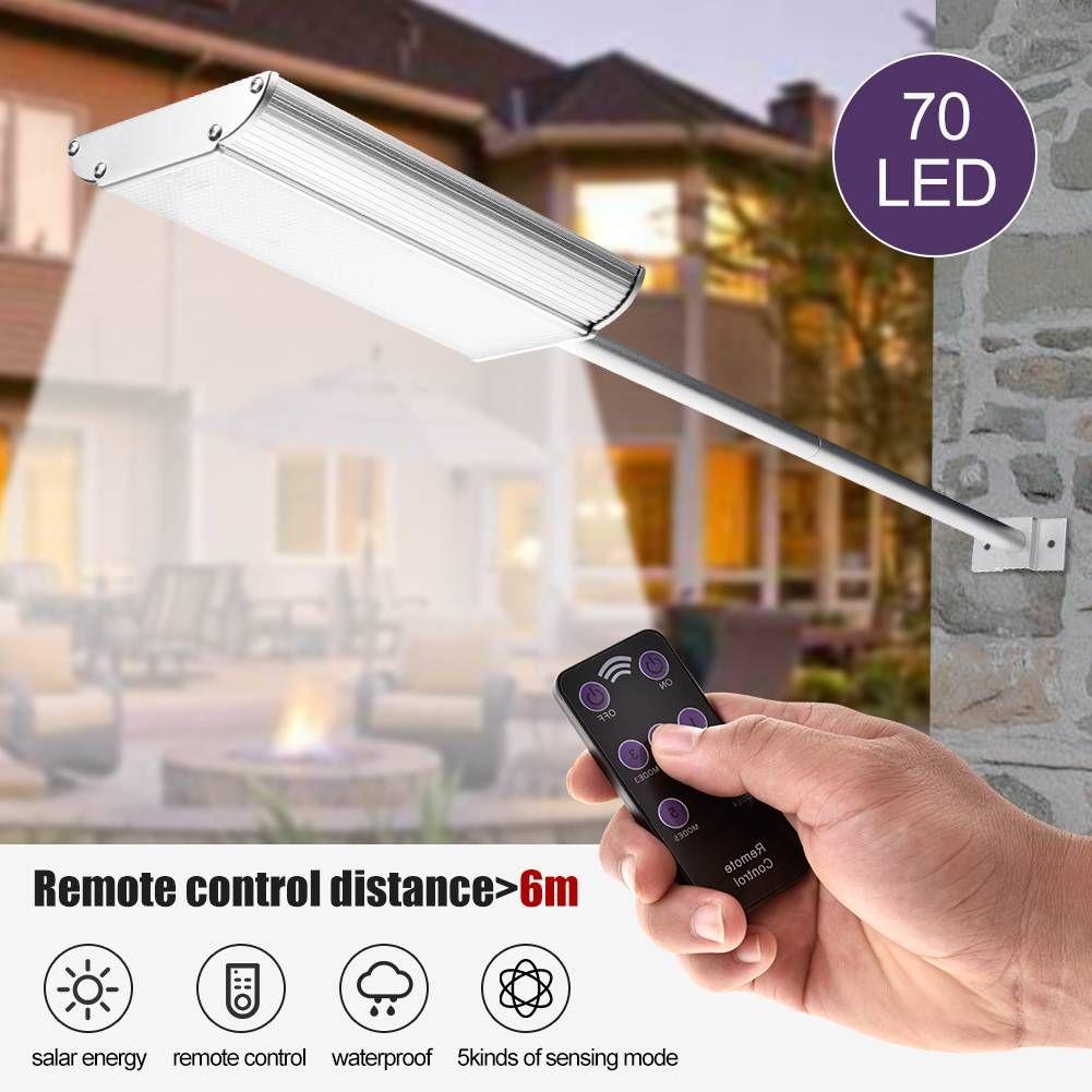 La energía solar 70 LED de luz blanca de lamparas pared impermeable al aire libre de iluminación de seguridad inalámbrica aplique lámparas solares
