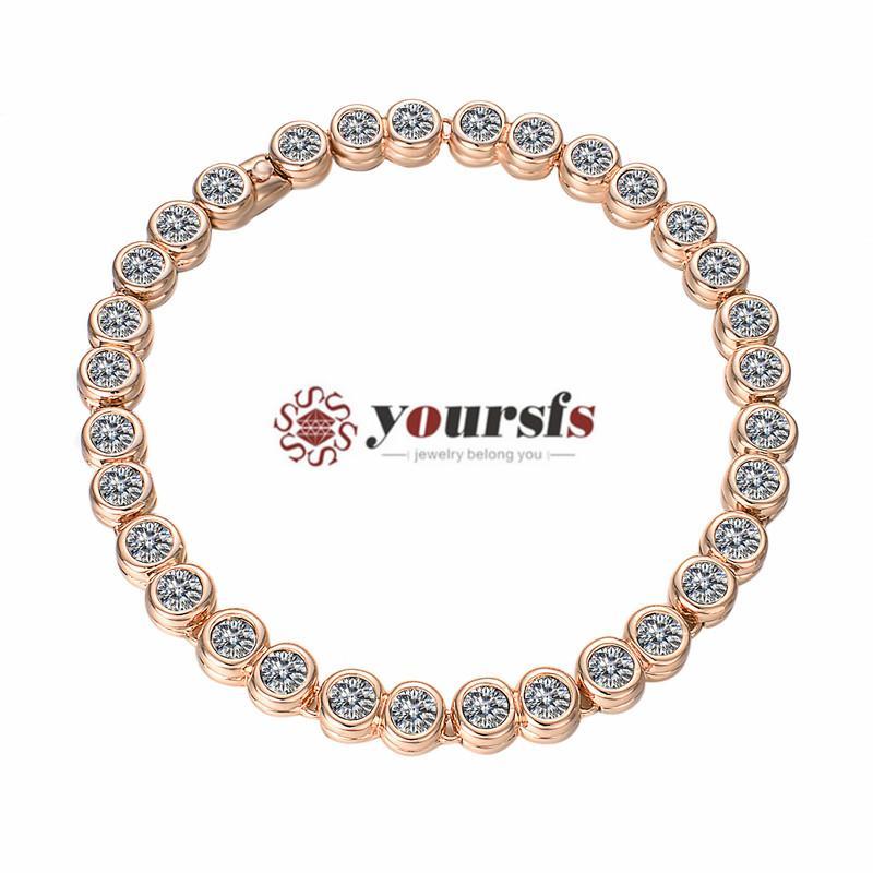 Braccialetto da tennis di Thisfs CZ tondo taglio cubico zirconia donna 18 carati in oro rosa placcato per regalo di anniversario di matrimonio